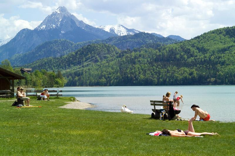Baden im Weissensee in Füssen im Allgäu